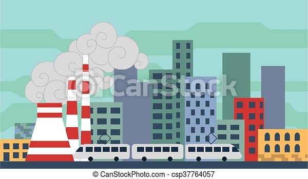 Un paisaje de ciudad con un diseño plano. - csp37764057