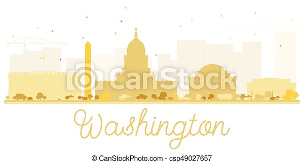 Silueta dorada de Washington DC. - csp49027657