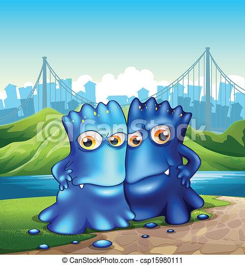Dos monstruos en la ciudad - csp15980111