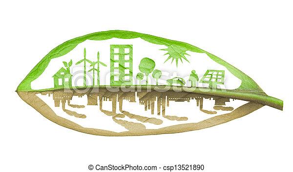 Ciudad ecológico verde contra concepto de contaminación, aislada sobre Whit - csp13521890