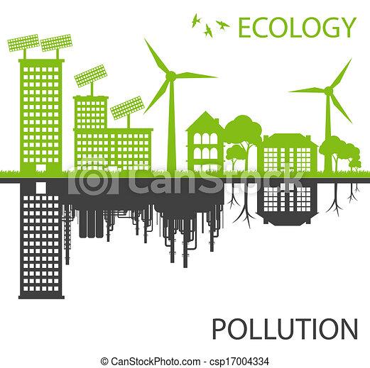 Ciudad ecológico verde contra vector de contaminación - csp17004334