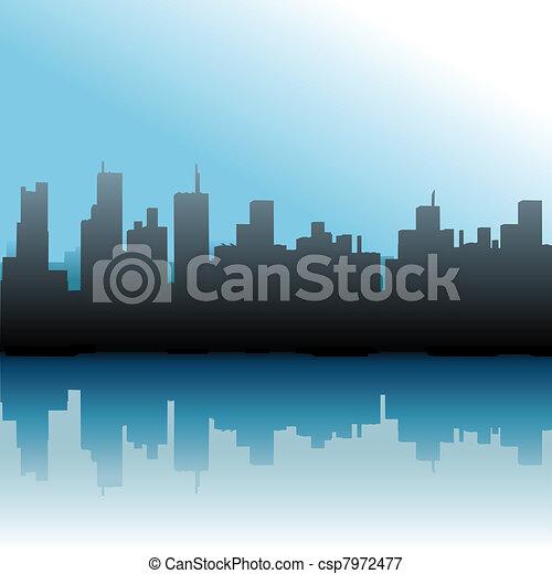 Edificios urbanos cielo azul marino - csp7972477