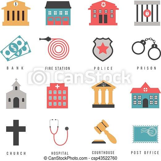 Ciudad, edificios, iconos, gobierno, plano, señales, vestíbulo ...