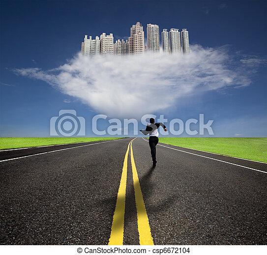 Hombre de negocios corriendo a la futura ciudad con su sombra - csp6672104
