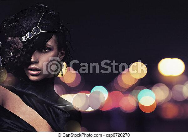 ciudad, encima, moda, dama, plano de fondo - csp6720270