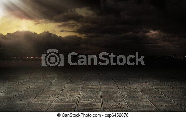 ciudad, encima, nubes, tempestuoso - csp6452076