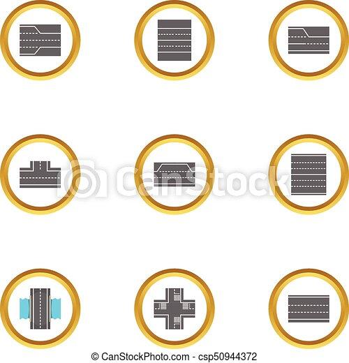 Iconos de la ciudad, estilo de dibujos animados - csp50944372