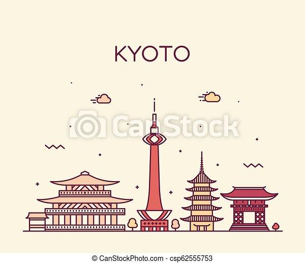 El horizonte de Kyoto, la ciudad de estilo lineal de Japón - csp62555753
