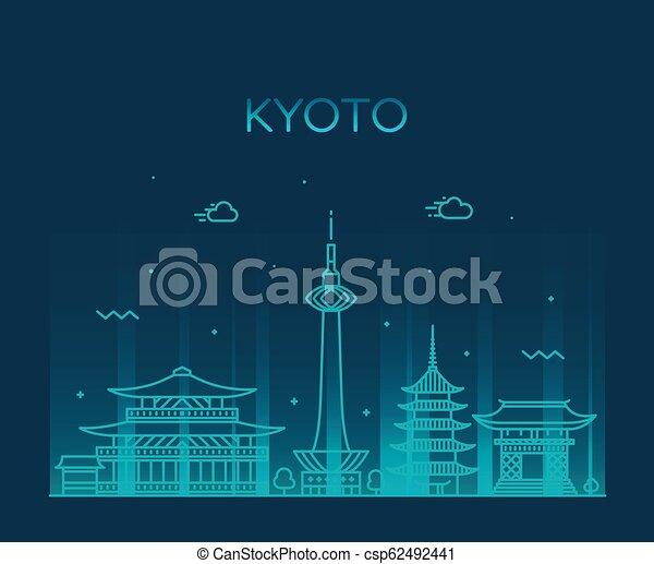 El horizonte de Kyoto, la ciudad de estilo lineal de Japón - csp62492441