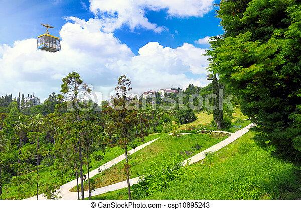 Funicular en parque tropical Arboretum, ciudad de Sochi - csp10895243