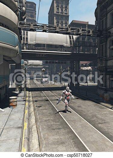 ciudad, futuro, -, patrulla, soldado - csp50718027