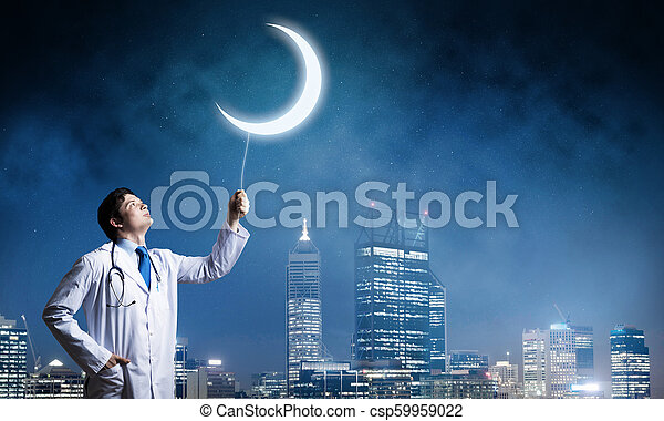 Doctor en la guardia de salud de la ciudad - csp59959022