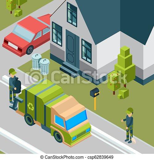 Camión de basura. Servicio de limpieza eliminando basura de residuos de basura de la ciudad reciclando concepto de vector isometrico fondo - csp62839649