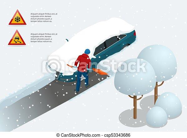 Un hombre con una pala limpiando la nieve llenó el patio trasero fuera de su auto. Ciudad tras ventisca. Un coche cubierto de nieve. Ilustración de vectores - csp53343686