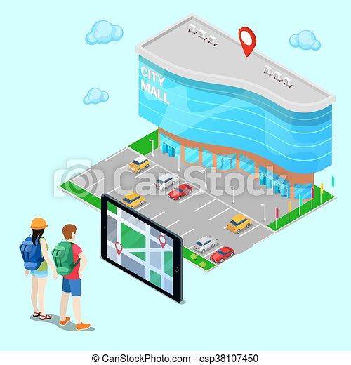 Un concepto isométrico de navegación móvil. Un turista buscando en el centro comercial con ayuda de tablet. Ilustración de vectores - csp38107450