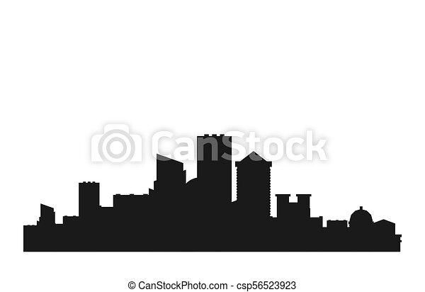 Ciudad, megapolis, edificios., ilustración, silhouette., vector ...