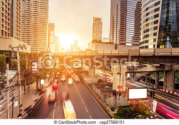 ciudad, moderno, tráfico, senderos - csp27566151