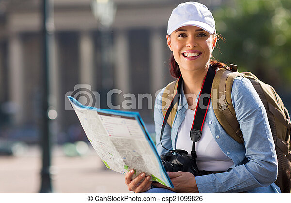 ciudad, mujer, joven, viajar - csp21099826