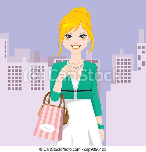 Mujer de la moda de la ciudad - csp9896423