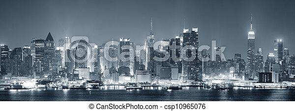 Ciudad de Nueva York Manhattan en blanco y negro - csp10965076