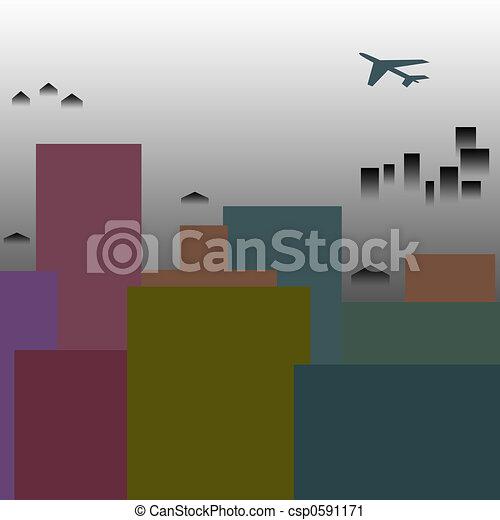 ciudad, niebla tóxica - csp0591171