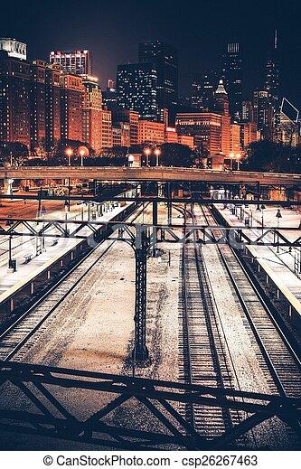 Ciudad de Chicago por la noche - csp26267463