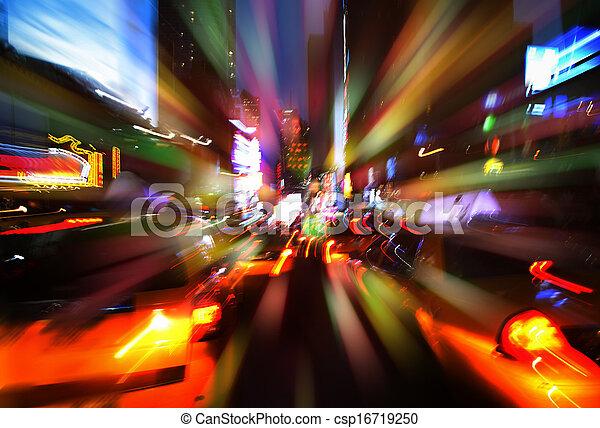 ciudad, noche, luces, york, nuevo, iluminación - csp16719250