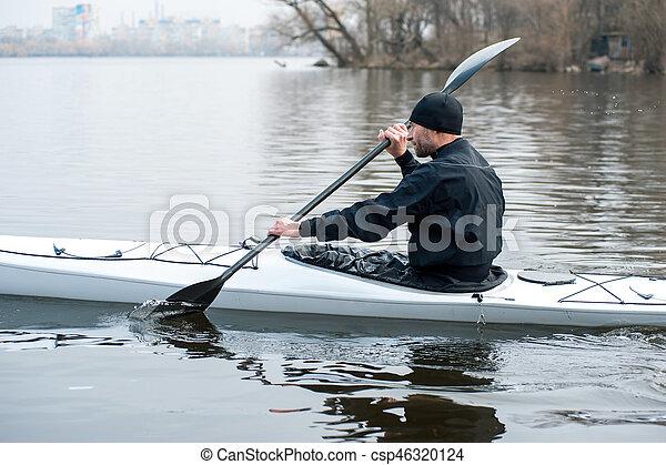 ciudad, orilla, kayaking, río, 05 - csp46320124