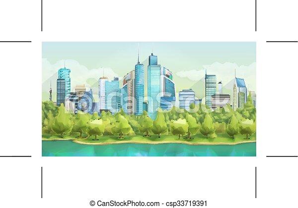 Ciudad y paisaje natural - csp33719391