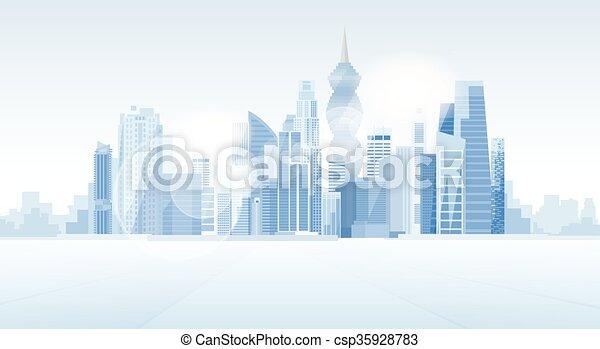 ciudad, panamá, rascacielos, plano de fondo, cityscape, vista - csp35928783
