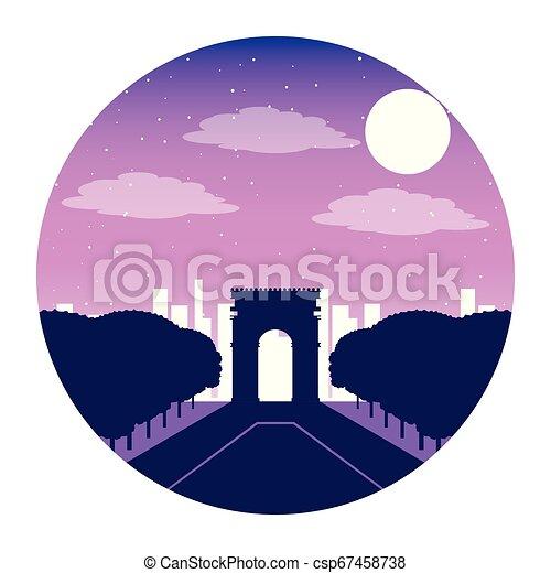 Arco del triunfo París Francia noche - csp67458738