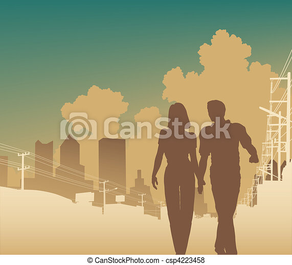 ciudad, pareja - csp4223458