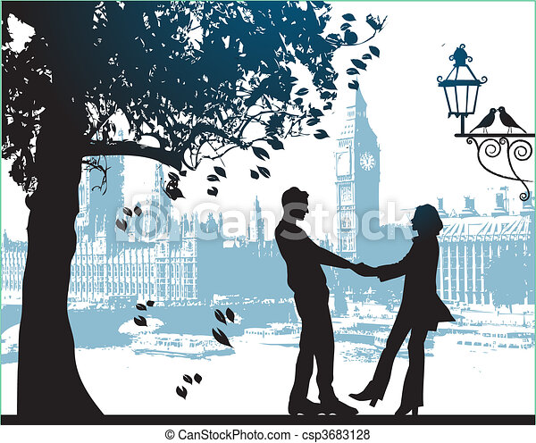 Una pareja bajo el árbol en el parque - csp3683128