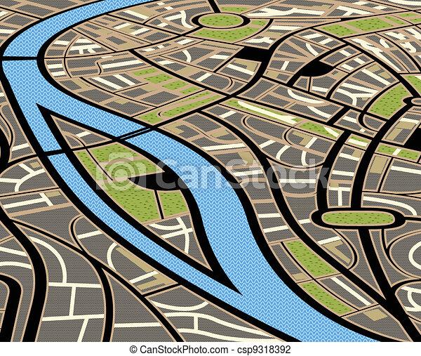 Ilustración del mapa de la ciudad - csp9318392