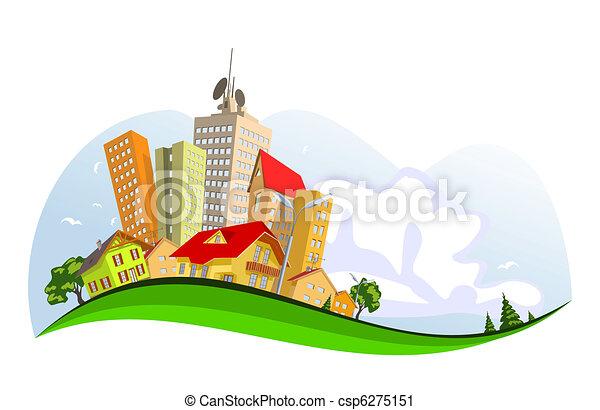 ciudad, resumen, vector, -, verano - csp6275151