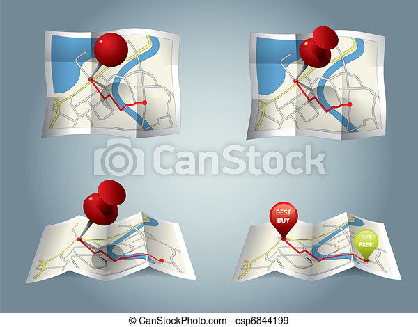 El mapa de la ciudad con iconos GPS y ruta - csp6844199