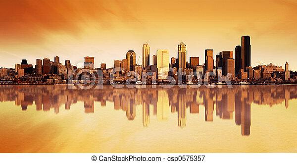 ciudad, salida del sol, vista - csp0575357