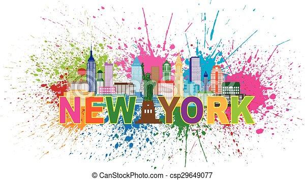 La ilustración de pintura salpicada de pintura de Nueva York - csp29649077