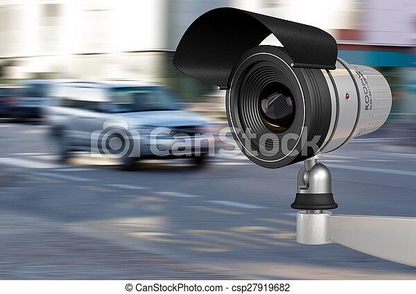 Cámara de seguridad en el tráfico de la ciudad - csp27919682