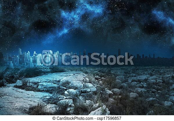 Un paisaje sereno con ciudad en el horizonte por la noche - csp17596857