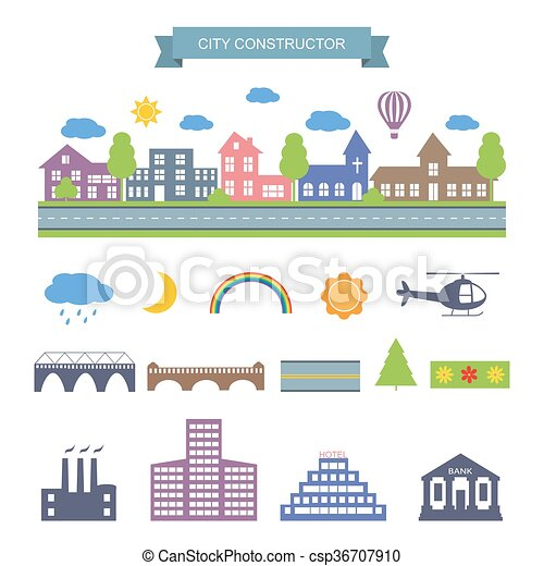 Los iconos constructores de la ciudad. - csp36707910