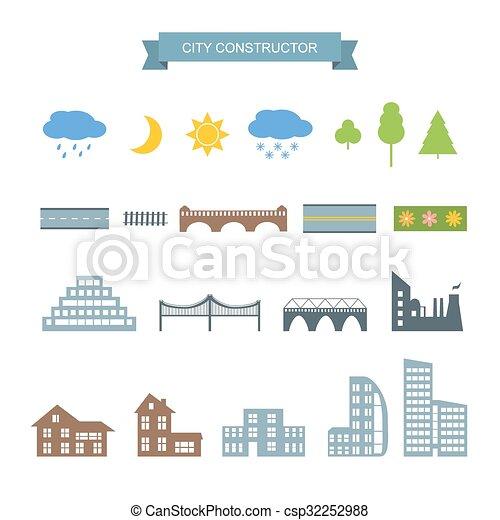 Los iconos constructores de la ciudad. - csp32252988