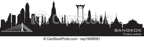 Bangkok Tailandia City Skyline vector silueta - csp19498061