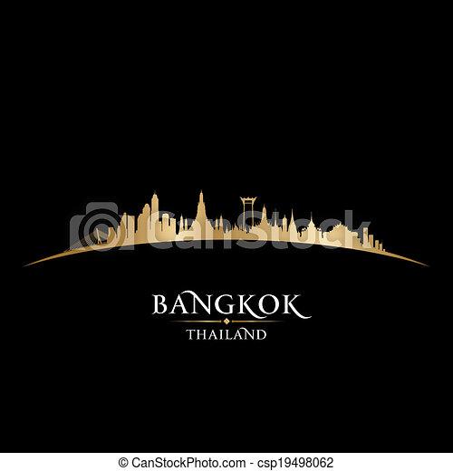 Bangkok Tailandia City skyline silueta negro fondo - csp19498062