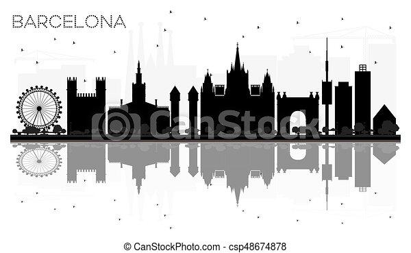 ciudad silueta barcelona contorno negro reflections