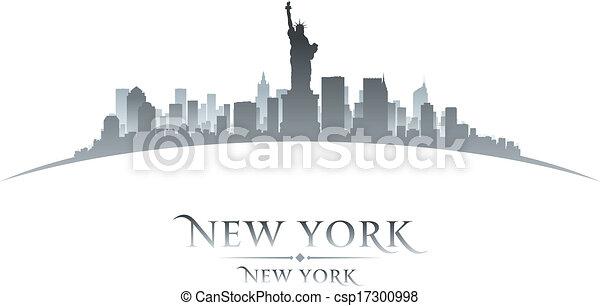 La ciudad de Nueva York silueta de fondo blanco - csp17300998