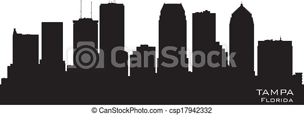 Tampa Florida City Skyline vector silueta - csp17942332