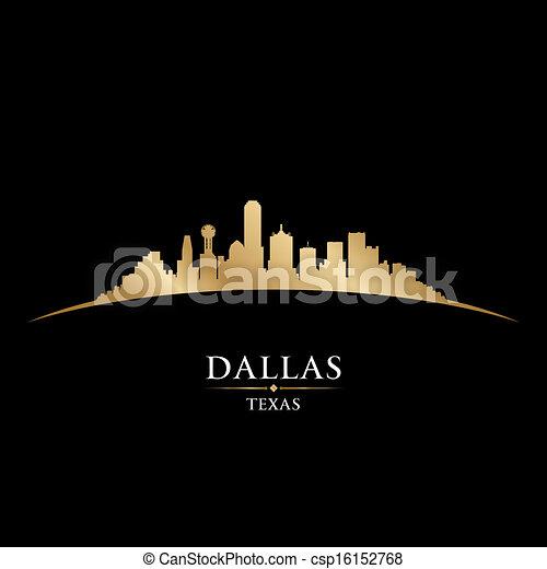 ciudad, silueta, perfil de dallas, fondo negro, tejas - csp16152768