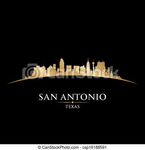 ciudad, silueta, san antonio, contorno, fondo negro, tejas - csp16188591
