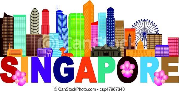 La ilustración de color en el horizonte de Singapur - csp47987340